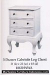 3 Drawer Cabriole Leg Chest.